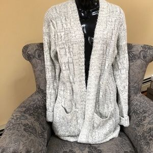 NEW Long Gray Cable Knit Cardigan From Garage XS/S